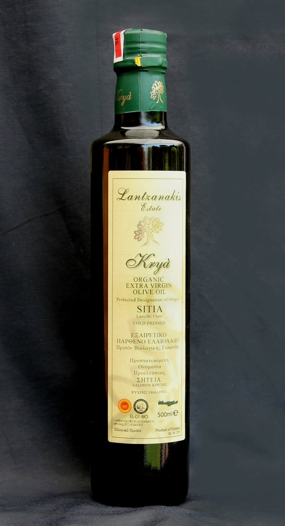 0,5-Liter Flasche Krya Single Estate BIO Olivenöl Fam. Lantzanakis